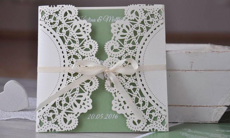Einladungskarten Hochzeit Vintage Edler Lasercut