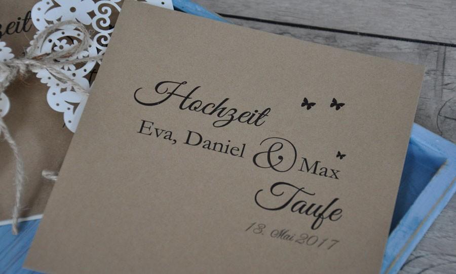 Einladungskarten Hochzeit Vintage Trifft Kraftpapier
