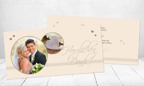"""Danksagungskarten Hochzeit """"Mitten ins Herz"""""""
