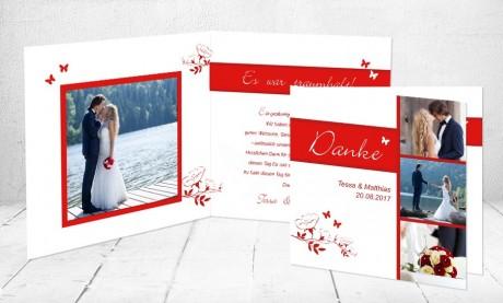 """Dankeskarten Hochzeit """"Schmetterling"""""""