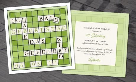 """Einladungskarten Geburtstag """"scrabble"""""""
