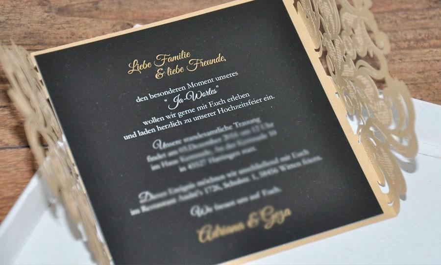 Moderne Hochzeitseinladung Spitze Goldglanz