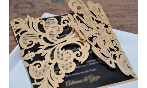 """Moderne Hochzeitseinladung """"Goldspitze"""""""