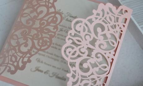 """Edle Hochzeitseinladungen  """"Rosa Märchenhochzeit"""""""