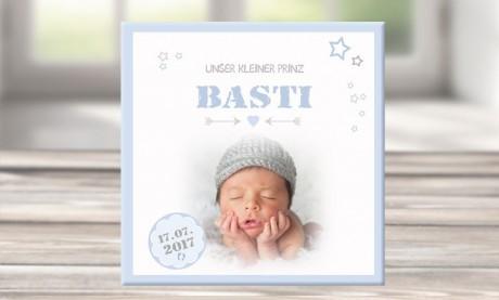 """Wandbild mit Geburtsdaten und Foto """"Basti"""""""