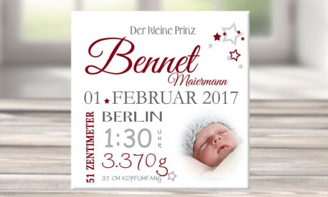 """Wandbild mit Geburtsdaten und Foto """"Bennet"""""""