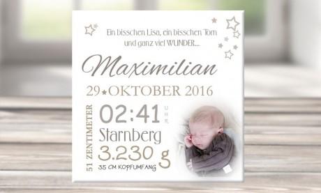 """Wandbild mit Geburtsdaten und Foto """"Maximilian"""""""