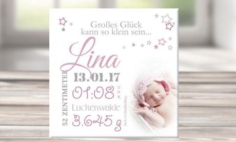 """Wandbild mit Geburtsdaten und Foto """"Lina"""""""