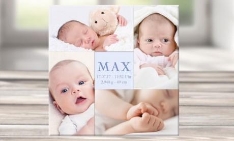 """Wandbild mit Geburtsdaten und Foto """"Max"""""""