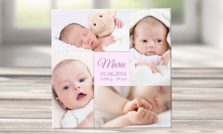 """Wandbild mit Geburtsdaten und Foto """"Marie"""""""