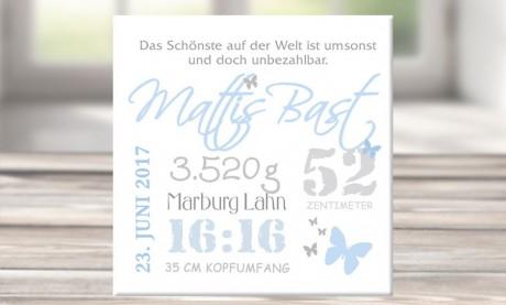 """Wandbild mit Geburtsdaten und Foto """"Mattis"""""""