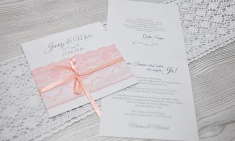 """Hochzeitseinladungen Spitze """"Rosa Strumpfband"""""""