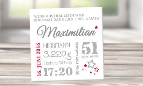 """Wandbild mit Geburtsdaten """"Maximilian"""""""