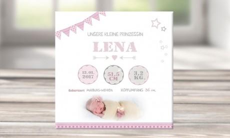 """Wandbild mit Geburtsdaten und Foto """"Lena"""""""