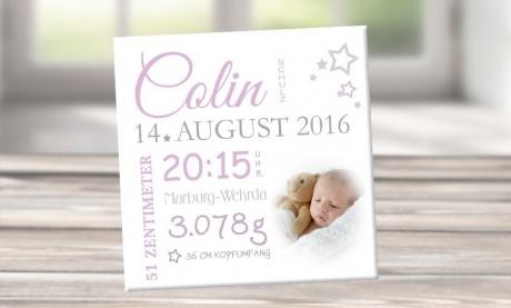 """Wandbild mit Geburtsdaten und Foto """"Colin"""""""