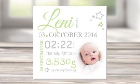 "Wandbild mit Geburtsdaten und Foto ""Leni"""