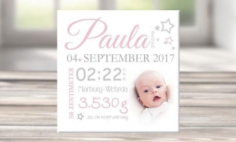 "Wandbild mit Geburtsdaten und Foto ""Paula"""