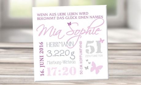 """Wandbild mit Geburtsdaten und Foto """"Mia Sophie"""""""