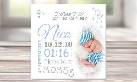 """Wandbild mit Geburtsdaten und Foto """"Nico"""""""