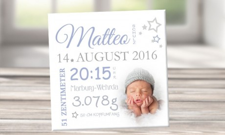 """Wandbild mit Geburtsdaten und Foto """"Mattheo"""""""