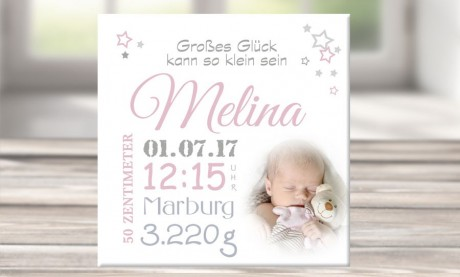 """Wandbild mit Geburtsdaten und Foto """"Melina"""""""