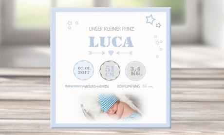 """Wandbild mit Geburtsdaten und Foto """"Luca"""""""
