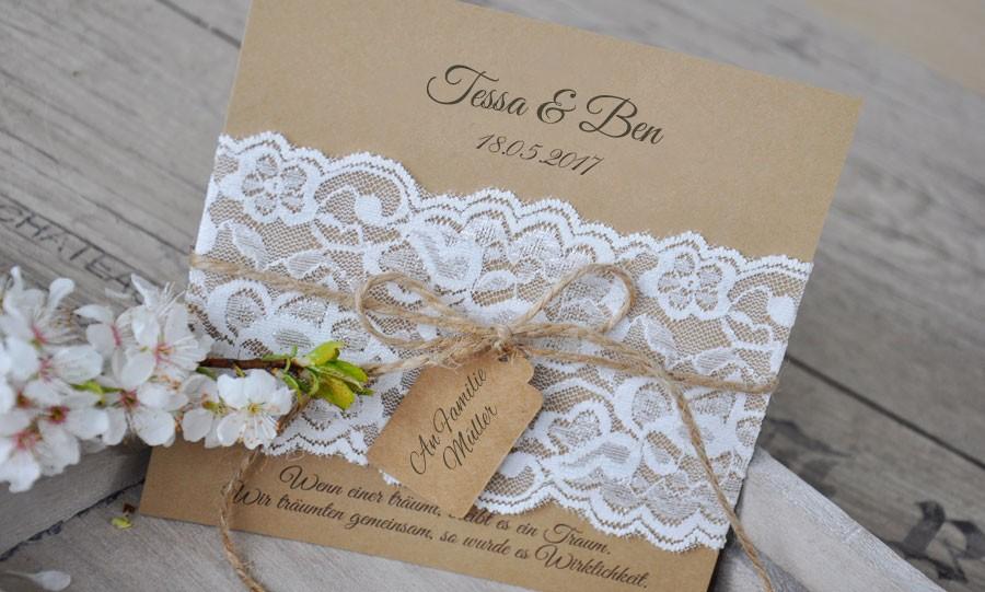 Einladungskarten Hochzeit Vintage Kraftpapier Kusst Spitze