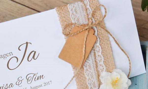 """Einladungskarten Hochzeit Vintage """"Elegantes Sackleinen"""""""