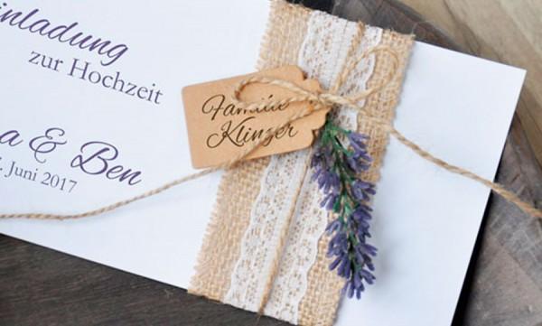 """Einladungskarten Hochzeit Vintage """"Sackleinen Spitze"""""""