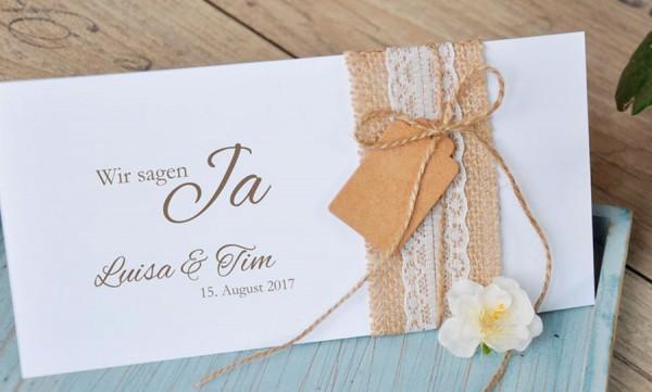 Einladungskarten hochzeit vintage sackleinen spitze - Hochzeitseinladungen mit spitze ...
