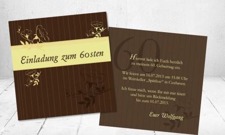 """Einladungskarten Geburtstag """"60. Wiegenfest"""""""