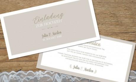 """Hochzeitseinladungskarte """"Schick&Schlicht"""""""