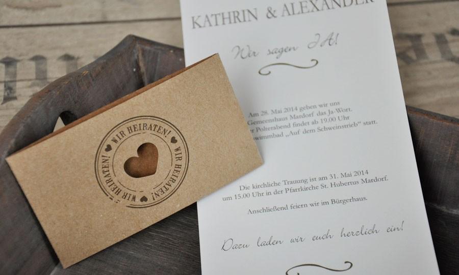 Hochzeitseinladungen Vintage Diy Kraftpapier Banderole