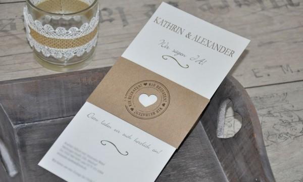 """Hochzeitseinladungen Vintage Diy """"Kraftpapier Banderole"""""""