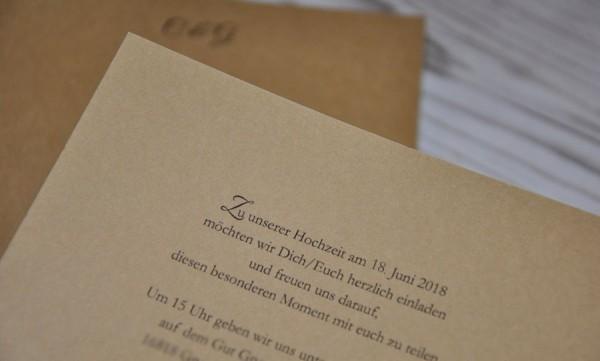 """Einladungskarten Hochzeit """"Vintage trifft Kraftpapier"""""""