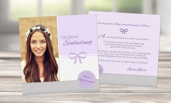 "Einladungskarte Konfirmation ""Schleife"" rosa grau"