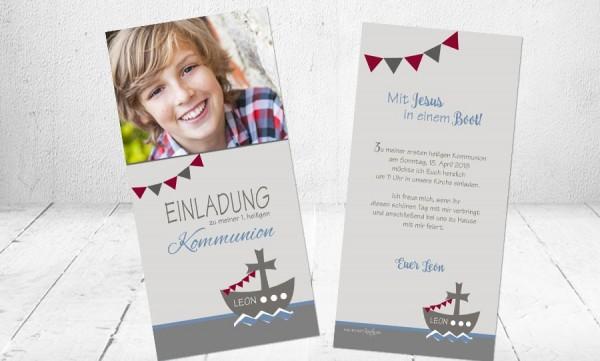 """Kommunionkarten Einladung """"Boot"""" türkis grau"""