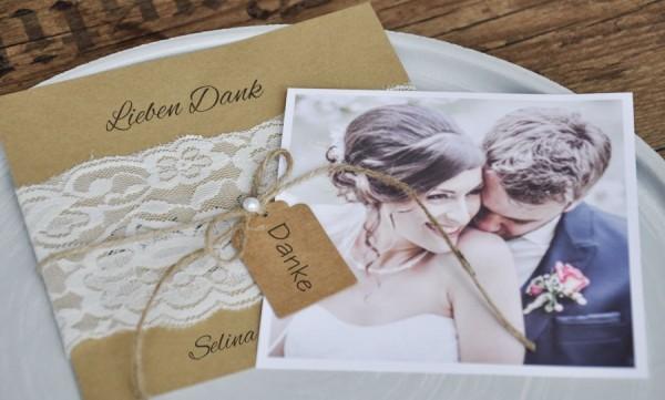 """Dankeskarten Hochzeit Vintage """"Kraftpapier küsst Spitze"""""""