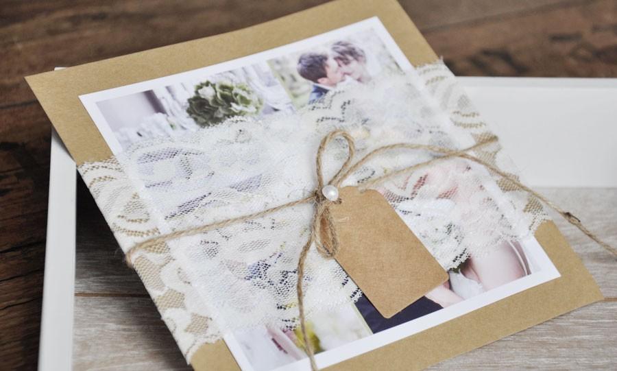 Dankeskarten Hochzeit Vintage Kraftpapier Kusst Spitze