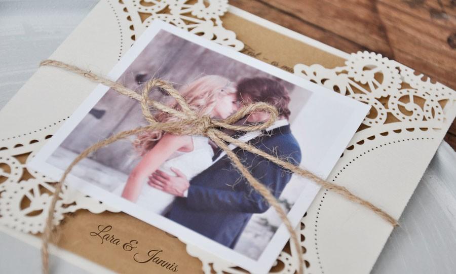 Danksagungskarten Hochzeit Vintage Trifft Kraftpapier