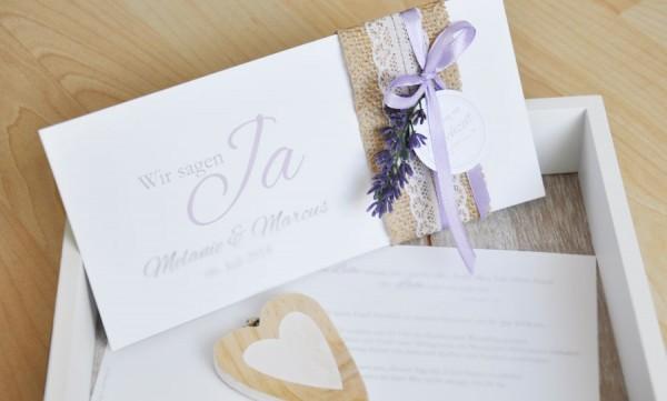 """Einladungskaten Hochzeit Vintage """"Lavendel"""""""
