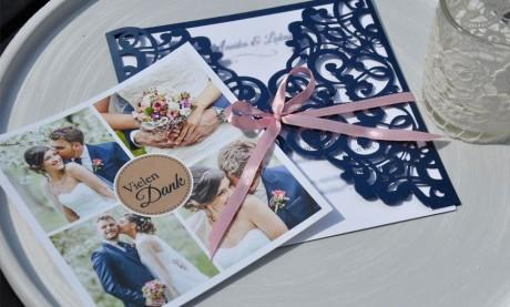 Danksagungskarte Hochzeit Vintage marineblau