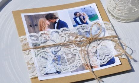 Dankeskarte Hochzeit Vintage Spitze