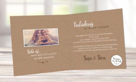 Einladungskarten-Hochzeit-Kraftpapier-Vintage