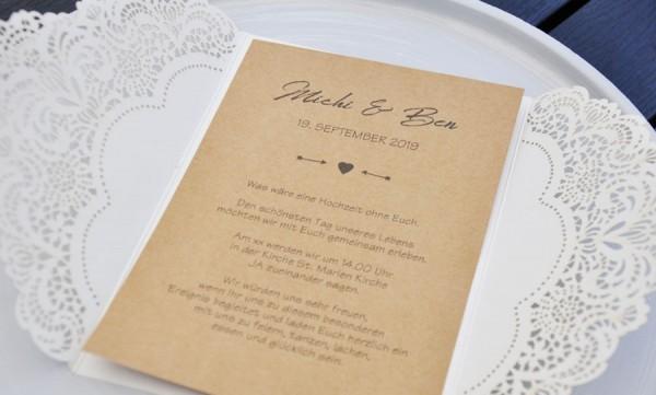 Einladungskarten Hochzeit Lasercut Kraftpapier