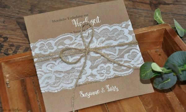Einladungskarten Hochzeit Vintage Kraftpapier Spitze