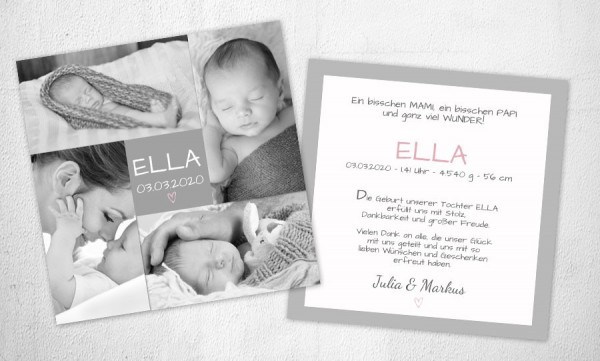 Dankeskarten Geburt quadratisch Mädchen