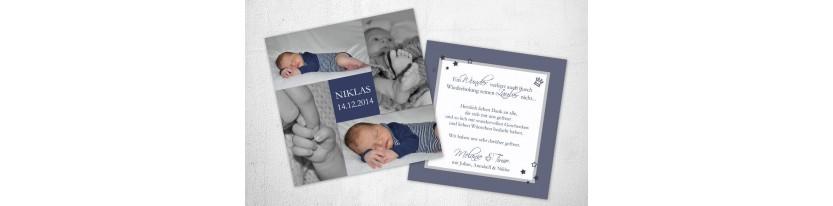 Dankeskarten Geburt quadratisch blau