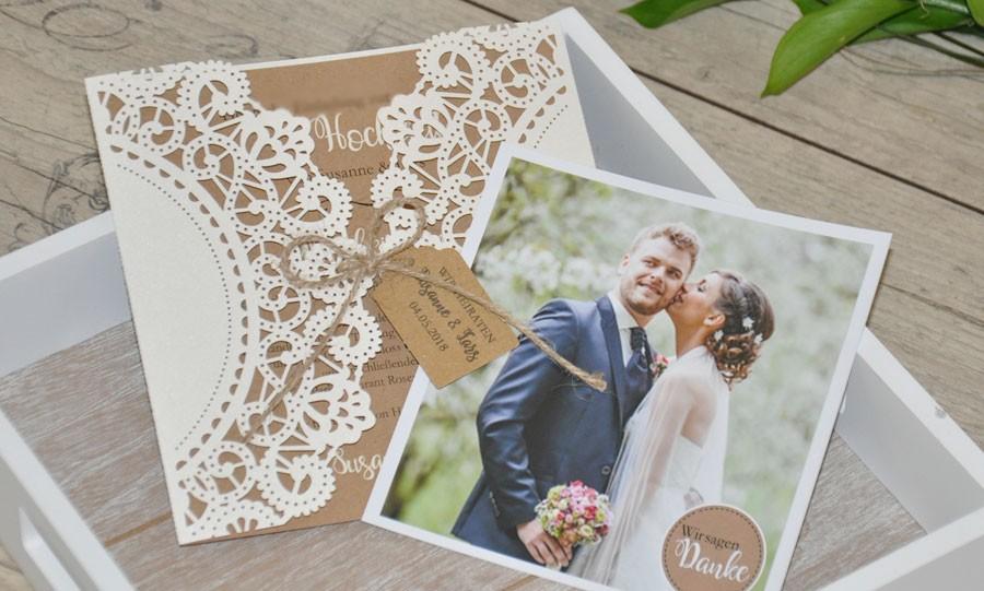 Dankeskarte Hochzeit Lasercut